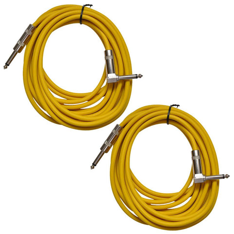 Pair of Yellow 20 Foot Right Angle to Straight Guitar Cables