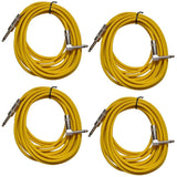 4 Pack of Yellow 20 Foot Right Angle to Straight Guitar Cables