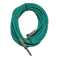 Green 20 Foot Right Angle to Straight Guitar Cable