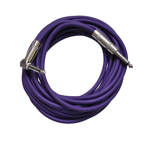 Purple 20 Foot Right Angle to Straight Guitar Cable