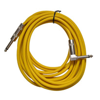 Yellow 20 Foot Right Angle to Straight Guitar Cable