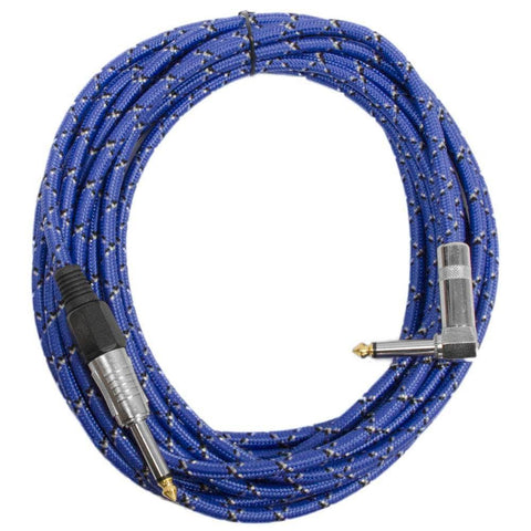 SAGCRBB-18 - 18' Black & Blue Woven Guitar/Instrument Cable