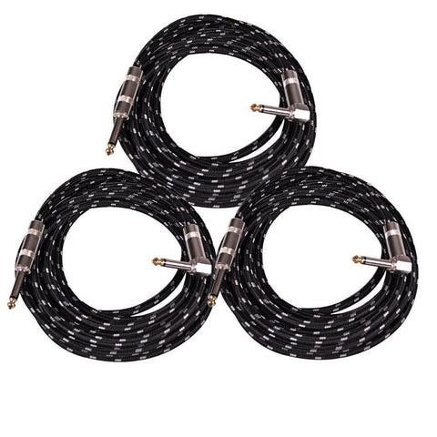 SAGCRBK-12 -  3 Pack of 12' Black Woven Cloth Guitar/Instrument Cables