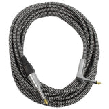 SAGCRBS-18 - 18' Black & Silver Woven Guitar/Instrument Cable