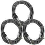 SAGCRBS-18-3PK - 18' Black & Silver Woven Guitar/Instrument Cable (3 Pack)