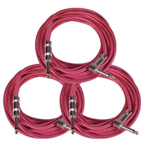SAGCRPK-20 - 3 Pack of 20' Pink Woven Cloth Guitar/Instrument Cables