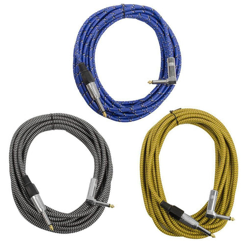 SAGCRVAR-18-3PK - 18' Variety Pack of Guitar/Instrument Cable (3 Pack)