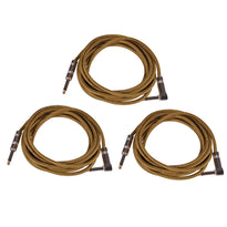 SAGCRYW-12 - 3 Pack of 12' Yellow Woven Cloth Guitar/Instrument Cables