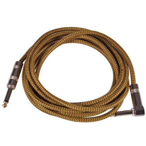 SAGCRYW-12 - 12' Yellow Woven Cloth Guitar/Instrument Cable