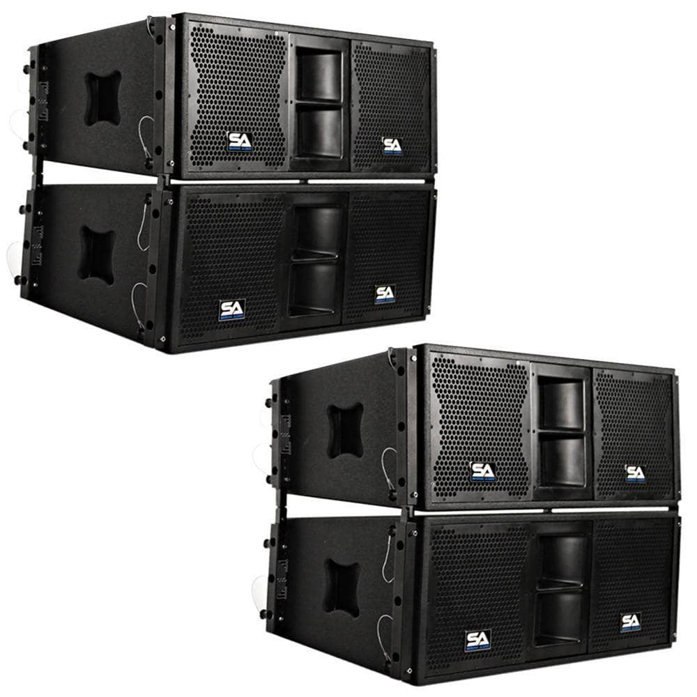 Four Passive 2x10 Line Array Speakers With Dual