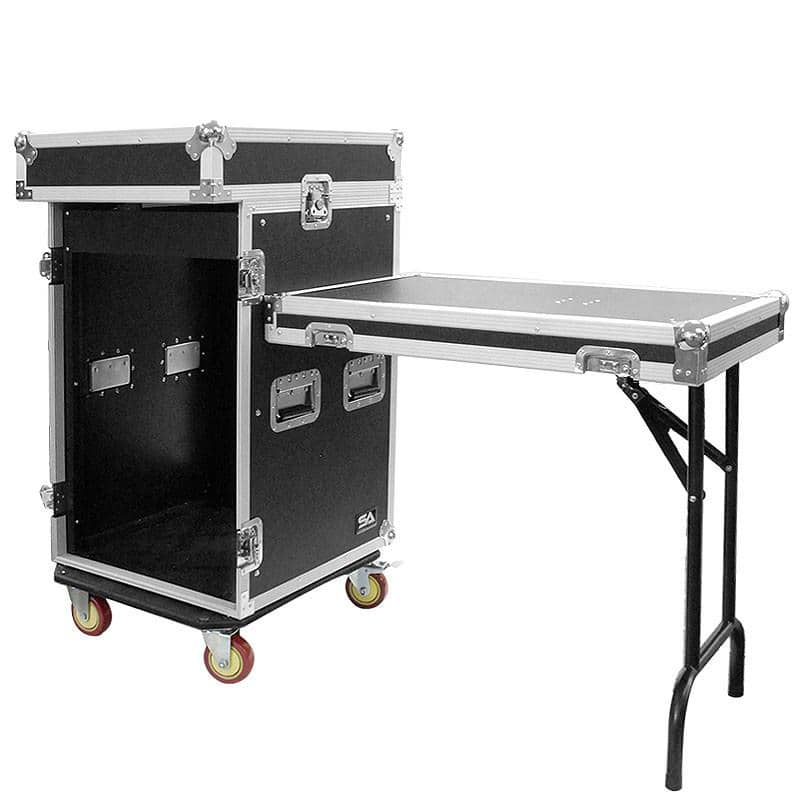 16 Space Rack Case With 10 Space Slant Mixer Top And Dj