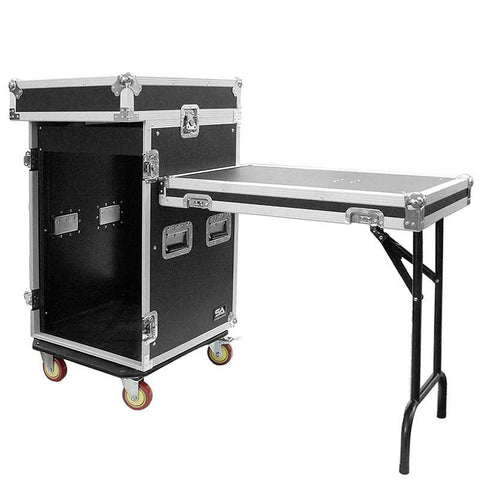 16 Space Rack Case with 10 Space Slant Mixer Top and DJ Work Table