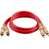 SAPRCA3-RD- Premium 3 Foot Red Dual RCA Male to Dual RCA Male Audio Patch Cable