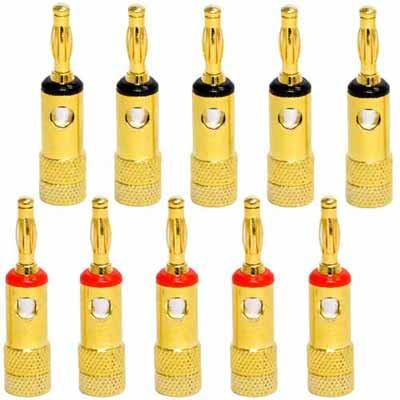 24k Banana Connectors/Clips - Pack of 10 (5 Red/5 Black)