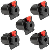 "SAPT243 (5 Pack) - Locking 1/4"" Female Panel Mount Connector - Black Metal 3 Pole"