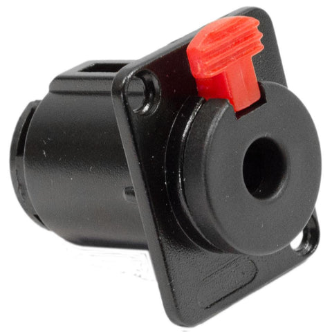 "SAPT243 - Locking 1/4"" Female Panel Mount Connector - Black Metal 3 Pole"