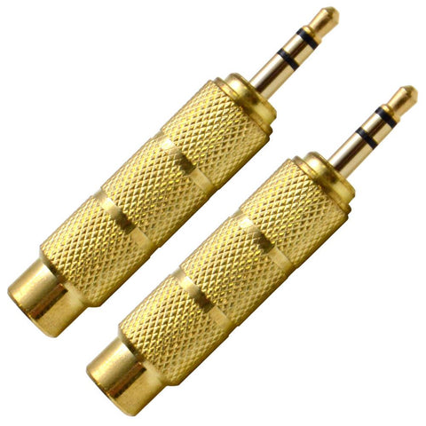 "SAPT122 (Pair) - 1/4"" Female to 1/8"" Male Adapter (Gold)"