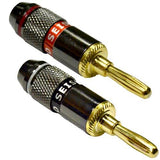 24k Banana Connectors/Clips - Black Chrome Finish - Pack of 20 (10 Red/10 Black)