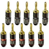 24k Banana Connectors/Clips - Black Chrome Finish - Pack of 10 (5 Red/5 Black)