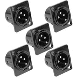 SAPT214 - XLR Male Panel Mount Connector - Black Metal Housing (5 Pack)
