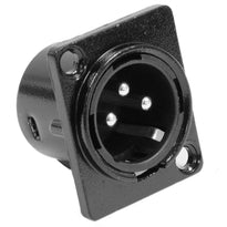 SAPT214 - XLR Male Panel Mount Connector - Black Metal Housing