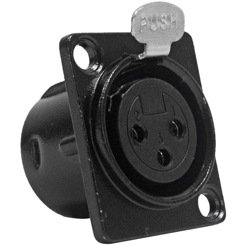 SAPT219 - XLR Female Panel Mount Connector - Black Metal Housing