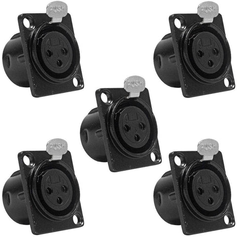 SAPT219 (5 Pack) - XLR Female Panel Mount Connectors - Black Metal Housing