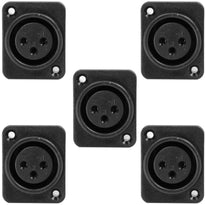 SAPT229 - 3 Pole XLR Female Vertical PCB Mount Connector - Black (5 Pack)