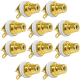 SAPT230 - RCA Gold Plated Chassis Mount Connector - White (10 Pack)