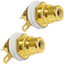 SAPT230 - RCA Gold Plated Chassis Mount Connector - White (2 Pack)