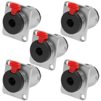 "SAPT233 - Locking 1/4"" Female Panel Mount Connector - Nickel Plated 3 Pole (5 Pack)"