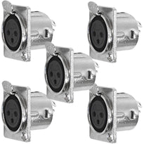SAPT239 - XLR Female Nickel Panel Mount Connectors (5 Pack)