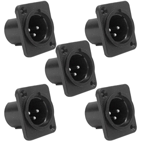 SAPT255 (5 Pack) - 3 Pole XLR Male Vertical PCB Mount Connector - Black