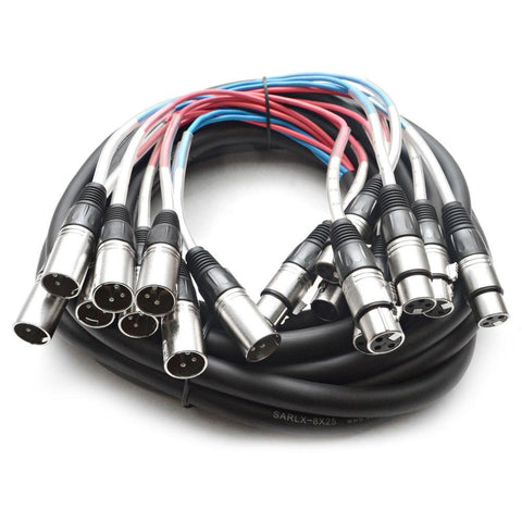 SARLX-8x25 - 8 Channel XLR Colored Snake Cable 25'
