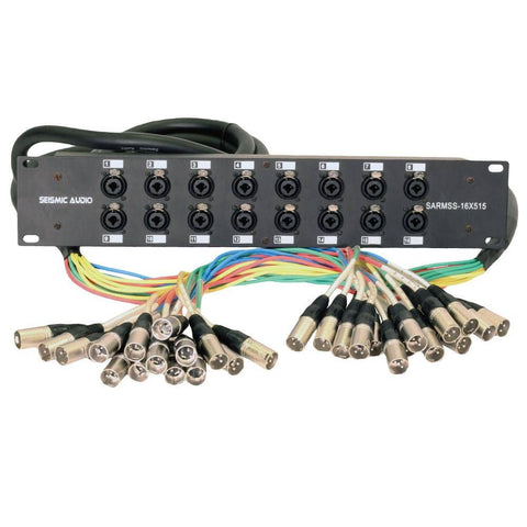 SARMSS-16x515 - 16 Channel XLR TRS Combo Splitter Snake Cable - 5' and 15' XLR trunks