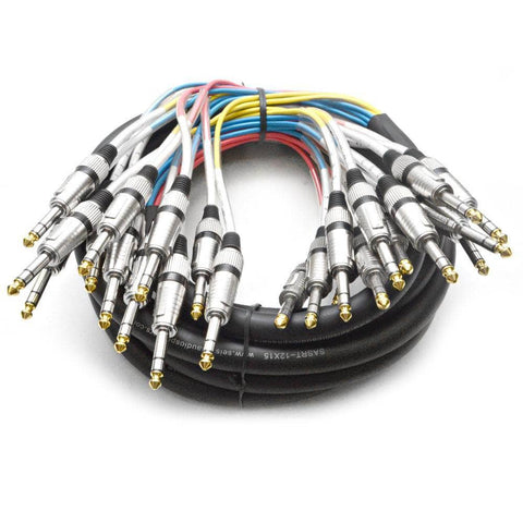 "SASRT-12x15 - 12 Channel 1/4"" TRS Snake Cable - 15 Feet"