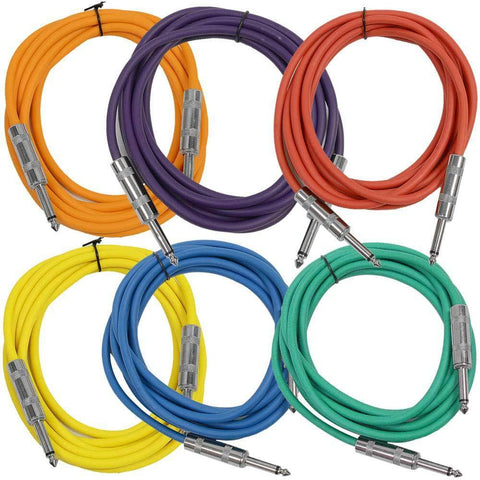 SASTSX-10 - 6 Pack of Multiple Colors 10 Foot TS Patch Cables