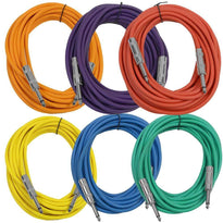 SASTSX-25 - 6 Pack of Multiple Colors 25 Foot TS Patch Cables