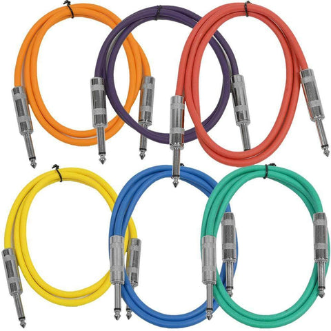 SASTSX-2 - 6 Pack of Multiple Colors 2 Foot TS Patch Cables