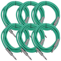SASTSX-10 - 6 Pack of Green 10 Foot TS Patch Cables