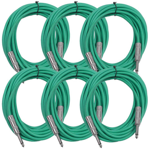 SASTSX-25 - 6 Pack of Green 25 Foot TS Patch Cables