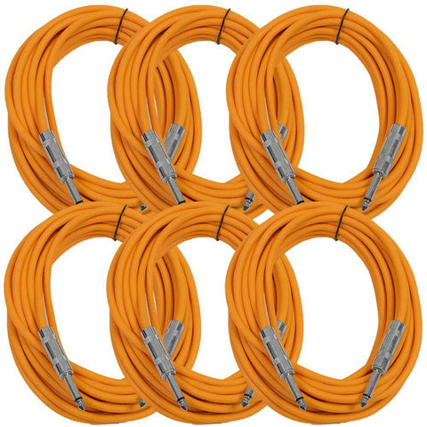 SASTSX-25 - 6 Pack of Orange 25 Foot TS Patch Cables