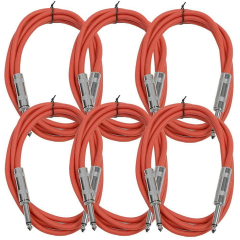 SASTSX-6 - 6 Pack of Red 6 Foot TS Patch Cables