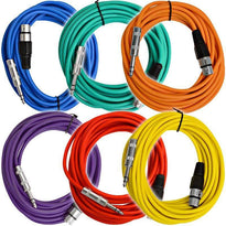 SATRXL-F25 - 6 Pack of Multiple Colors 25' XLR Female to TRS Patch Cables