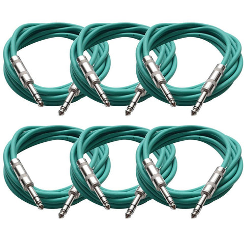 SATRX-10 - 6 Pack of Green 10 Foot TRS Patch Cables