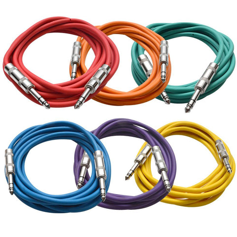 SATRX-10 - 6 Pack of Multiple Colors 10 Foot TRS Patch Cables