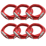 SATRX-10 - 6 Pack of Red 10 Foot TRS Patch Cables