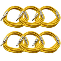SATRX-10 - 6 Pack of Yellow 10 Foot TRS Patch Cables