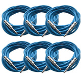 SATRX-25 - 6 Pack of Blue 25 Foot TRS Patch Cables