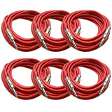 SATRX-25 - 6 Pack of Red 25 Foot TRS Patch Cables